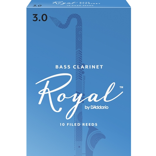 RICO ROYAL BASS CLARINET REEDS 3.0, BOX OF 10