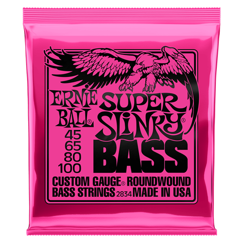 ERNIE BALL SUPER SLINKY NICKEL WOUND ELECTRIC BASS STRINGS - 45-100 GAUGE